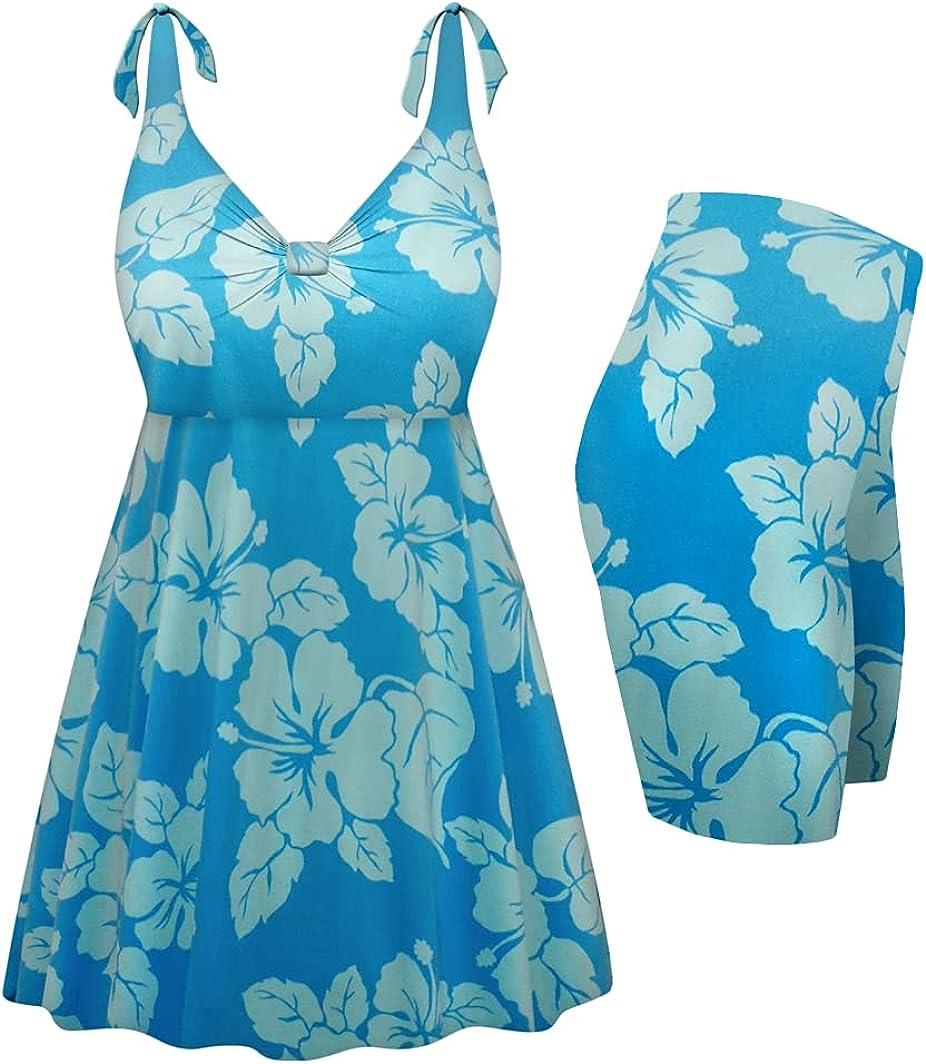 Sanctuarie Designs Plus Size Swimsuit 2-PC Straps Swimdress Uki Uki Azure Print