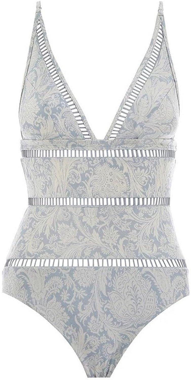 SHUCHANGLE Retro Blau Print Badeanzug Ausgehhlten Treppe Skinny Dreieck Nylon Badeanzug