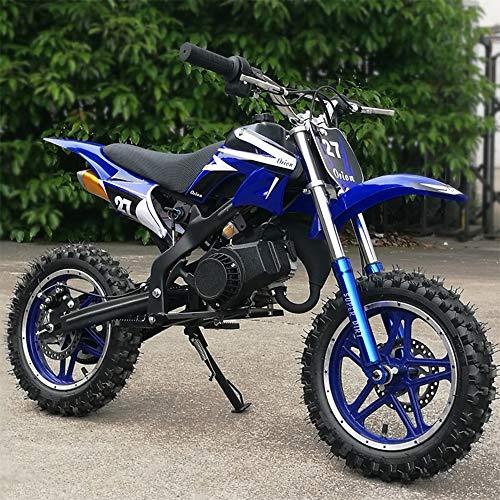 Unlicensed Mini Dirt Bike, 49cc Dirt Bike, Children's Bicycle, Gasoline-Powered 2-Stroke 49cc Motorcycle. (Blue) (Green)