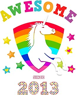 Awesome Since 2013: Unicorn Cursive Hand Writing Calligraphy Notebook Paper | White Cover for Girls Born this Year | Kids Practice Alphabet Letters & ... Book for Children in Preschool K-1 K-2 K-3