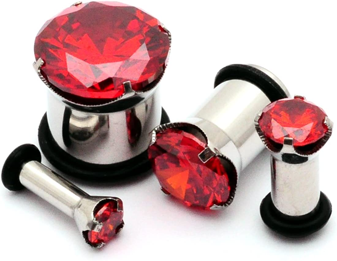 Mystic Metals Body Jewelry Steel Single Flare Plugs with Red Prong Set Cz - Sold As a Pair