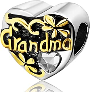 Grandma Heart Love 2 Colors Charms Beads for Bracelets Mother Gifts
