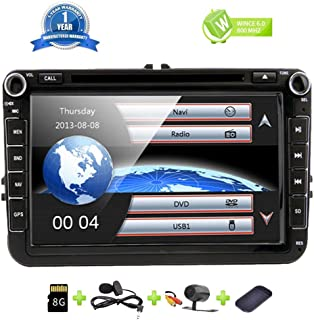8 Inch Car Radio Touch Screen Double Din Head Unit Car Receiver Stereo in Dash GPS Navigation with Bluetooth CD DVD for Volkswagen VW Passat Golf MK5 Jetta Tiguan T5 Skoda Seat with Backup Camera