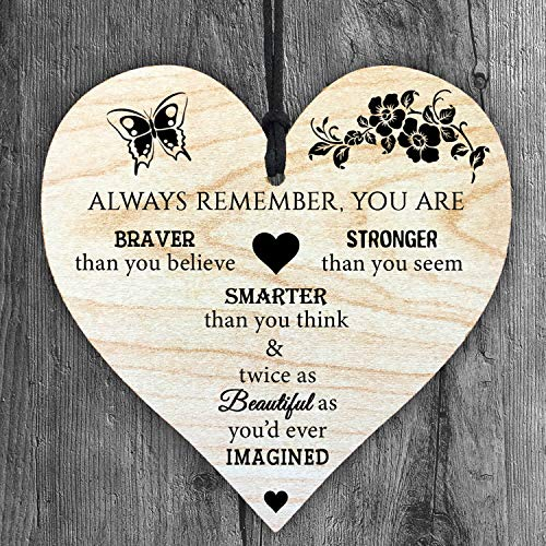 Always Remember You're Braver Stronger Smarter Beautiful - Handmade Wooden...