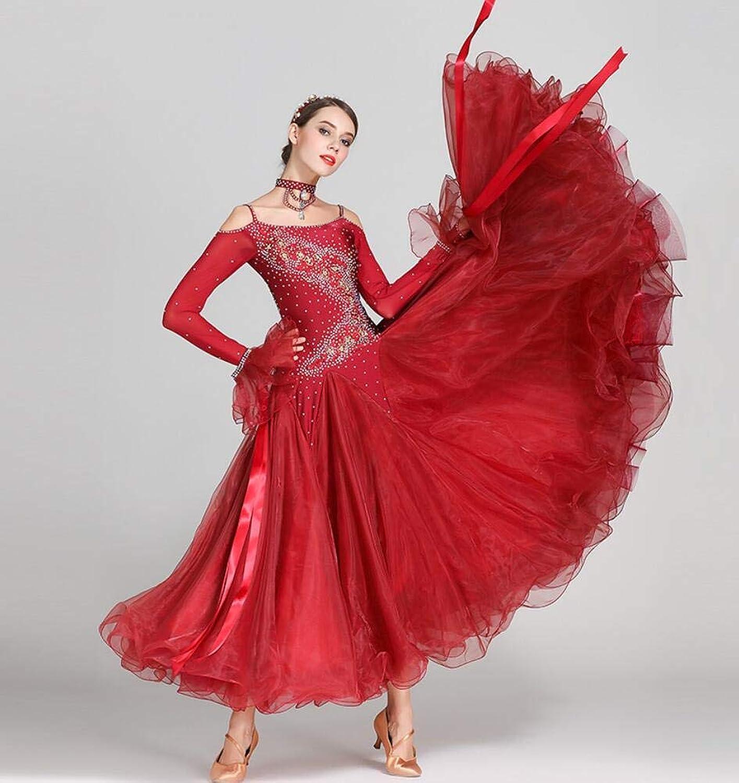 Z&X Women's Modern Ballroom Dance Costume Sling Professional Set Spandex Lycra High Density Yarn Red