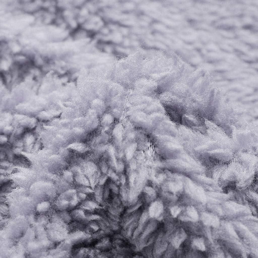 GreatestPAK Damen Fleece Hoodie Langarm Kordelzug Taschen Sweatshirt Einfarbig Warm Plüsch Pullover Übergröße Grau_14
