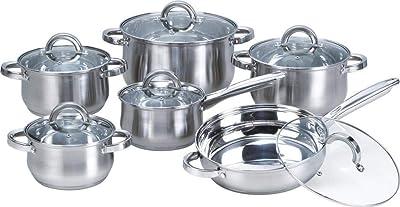 Heim Concept Stainless Steel 12-Piece Cookware Set, Silver