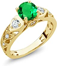 Gem Stone King 18K Yellow Gold Plated Silver Green Simulated Emerald Women's Engagement Ring (2.03 Ct Round, Available in size 5, 6, 7, 8, 9)