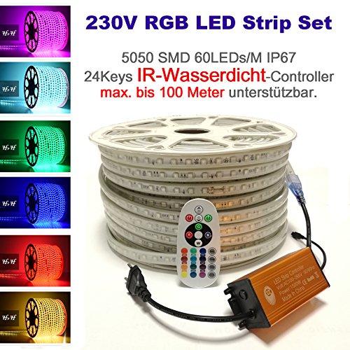 Preisvergleich Produktbild 15 Meter H+H Leipzig 230V IP67 SMD 5050 60LEDs / M RGB LED Strip Streifen Lichtband Lichtschlauch,  wasserdicht IP65 Infrarot (IR) Netzteil Controller,  Fernbedienung