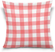 "MASSIKOA Red White Plaid Checked Decorative Throw Pillow Case Square Cushion Cover 18"" x 18"" for Couch, Bed, Sofa or Patio..."
