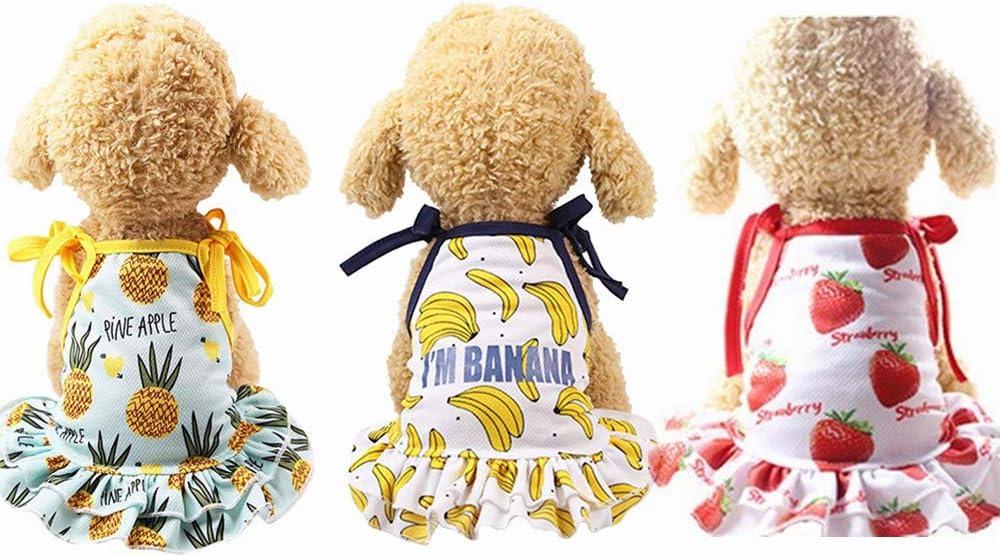 Yikeyo Set of 3 Small mart Dog Bargain sale Girl for Pet Yorkie Dress Pu Chihuahua