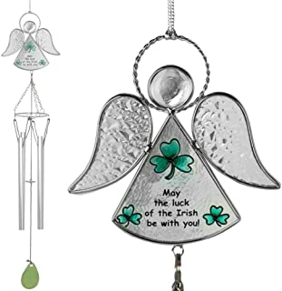 Irish Wind-Chimes - Glass Angel with Hand-Painted Designs - Green Shamrocks and May The Luck of The Irish be with You Saying