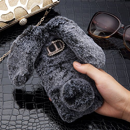 Plush Cover for Samsung Galaxy S8 Case LAPOPNUT Cute Bunny Ears Case Luxury Winter Soft Warm Cover Fluffy Furry Rabbit Shockproof Back Bumper with Chic Bling Crystal Diamond-Grey