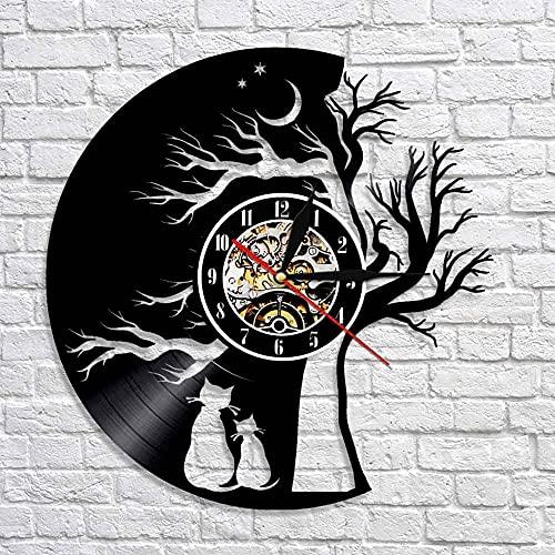 Usmnxo El patrón de Gato Que Vive bajo el árbol Nochebuena Gato Amor Disco de Vinilo Vinilo Disco de Vinilo Reloj de Pared decoración del hogar con lámpara 12 Pulgadas (30 cm)