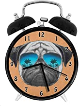 WZM148 Dog with Reflecting Aviators Palm Trees Tropical Environment Cool Pet Animal,Black Orange Blue Desk Clock Home Unique Decorative Alarm Ring Clock 4in