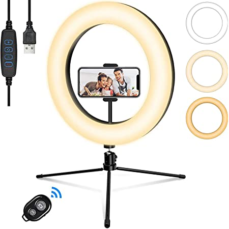 LEDリングライト 撮影用ライト 三脚スタンド 10インチ スマホスタンド 自撮り 照明 3色モード 13段階調光 卓上ライト Bluetoothリモコン付き 高輝度 USB充電式 一眼 女優ライトYouTube生放送 美容化粧 ビデオカメラ撮影