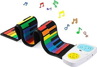 Lujex Rainbow Roll Up Piano,Portable Foldable Standard 49 Ke