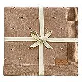 Babydecke Baumwolle Ajour Strick braun aus 100% GOTS Bio Baumwolle KBA (kontrolliert biologischer Anbau) Mädchen / Junge Baumwolldecke Baby Decke Strickdecke Geschenk zur Geburt Erstausstattung