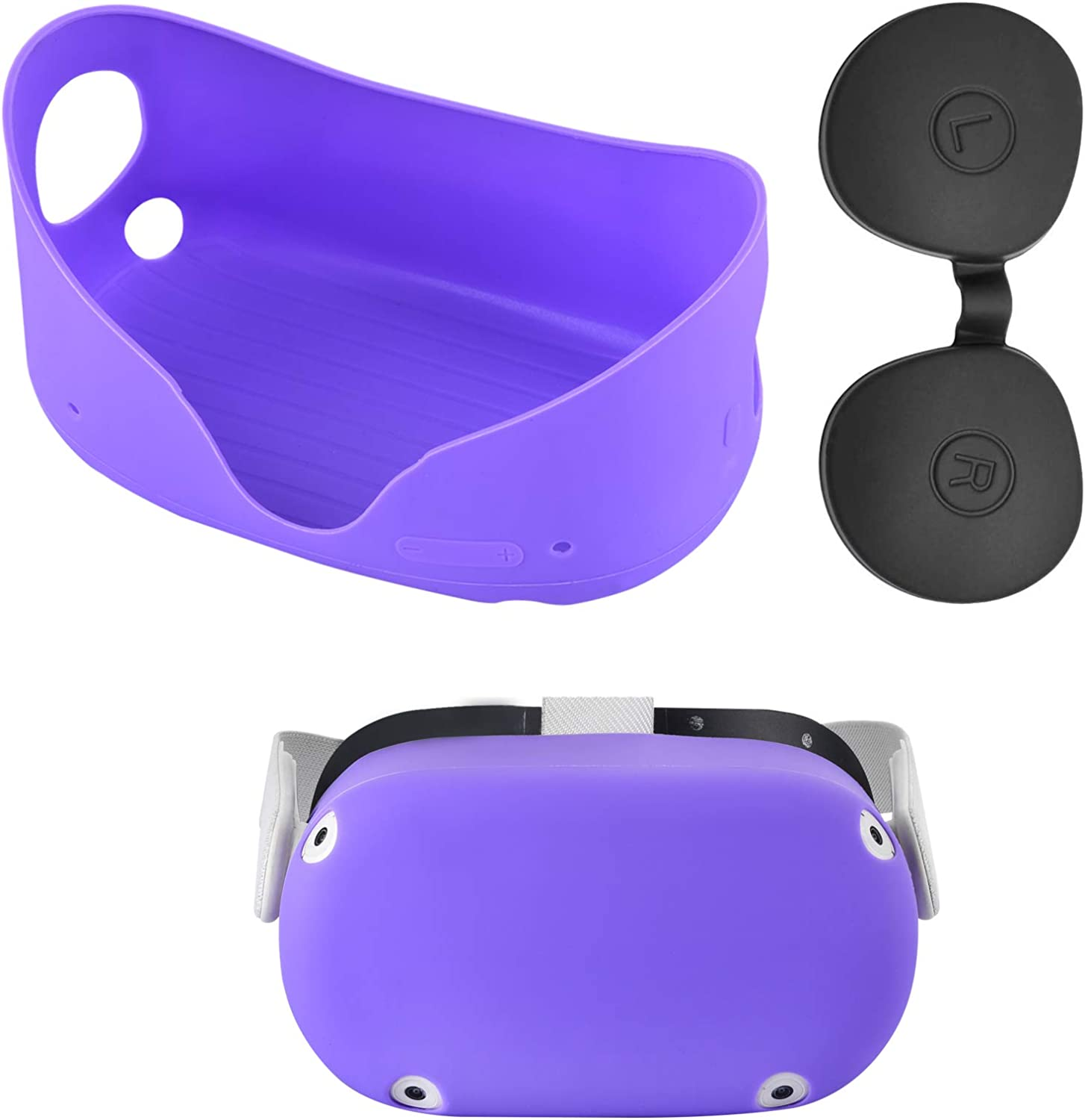 XIAOGE Silicone Front Protector Cover for Oculus Quest 2 with Black Lens Cover Accessories Dust Proof Washable Oculus Quest 2 Silicone Protector Shell (Purple)