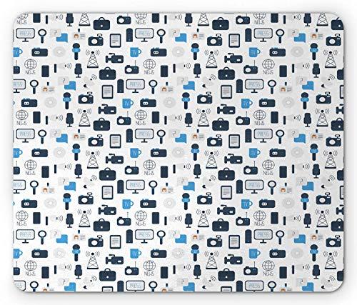 Alfombrilla de ratón Azul y Blanca, periodismo, Medios de comunicación, comunicación, Prensa, Noticias de televisión, Alfombrilla de Goma Rectangular Antideslizante, tamaño estándar, Azul pálido
