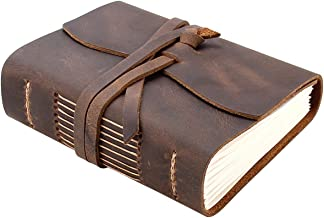 Leather Journal Travel Notebook, Handmade Vintage Leather Bound Writing Notebook for Men & Women, Unlined Travel Journal to Write in 320 Pages Pocket Size 5.2