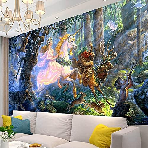 KHKJ Tapiz de Unicornio Animal Mandala Tapices de macramé Hippie para Colgar en la Pared para la decoración del hogar de la Sala de Estar A2 230x180cm