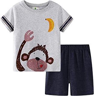 Little Boys' Toddler Cotton Clothing Sets T-Shirt&Shorts 2 Packs Kids Boys Summer Short Sleeve T-Shirt Sets 2-8Years