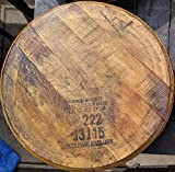 Makers Mark Bourbon Barrel Lid - Authentic Stamped, Distiller Reclaimed Bourbon Whiskey Barrel Top - Comes Ready to Hang with Barrel Head, Backing Board and Mounting Hardware