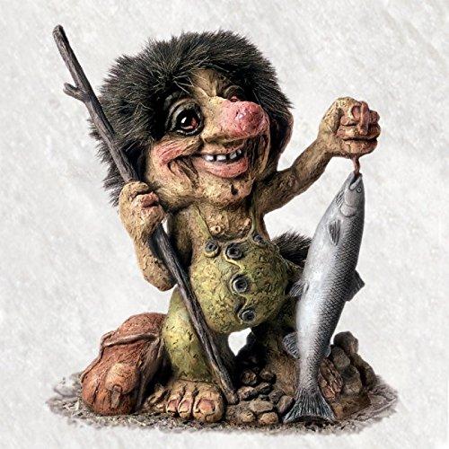 ORIGINAL NORWEGISCHE TROLLE * NyForm Troll mit Zertifikat 284* Troll Angler mit Fisch 23cm