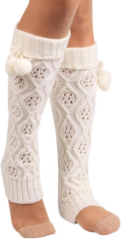 Leg Warmers,Haoricu Women Fall Winter Knit Crochet Fashion Leg Warmers Legging (White)