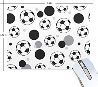 Mouse Pad Soccer Ball Grey Black Non-Slip Rubber Base Mousepad for Laptop/Computer/PC Mouse Mat 9.8 x 7.4 Inch