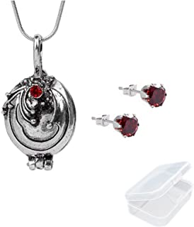 JinYu 2 Set The Vampire Diaries Elena Gilbert Opening Vervain Locket Pendant Necklace and Red Earrings with Transparent Box