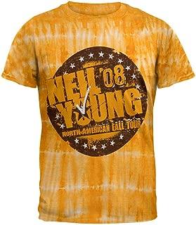 Neil Young - Mens Fall 08 Tour Tie Dye T-shirt Medium Yellow
