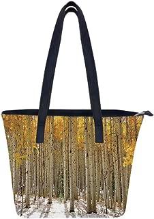 Farm House Aspen Leaves Custom Unique Leather Tote Shoulder Bags Handbags Computer Purse