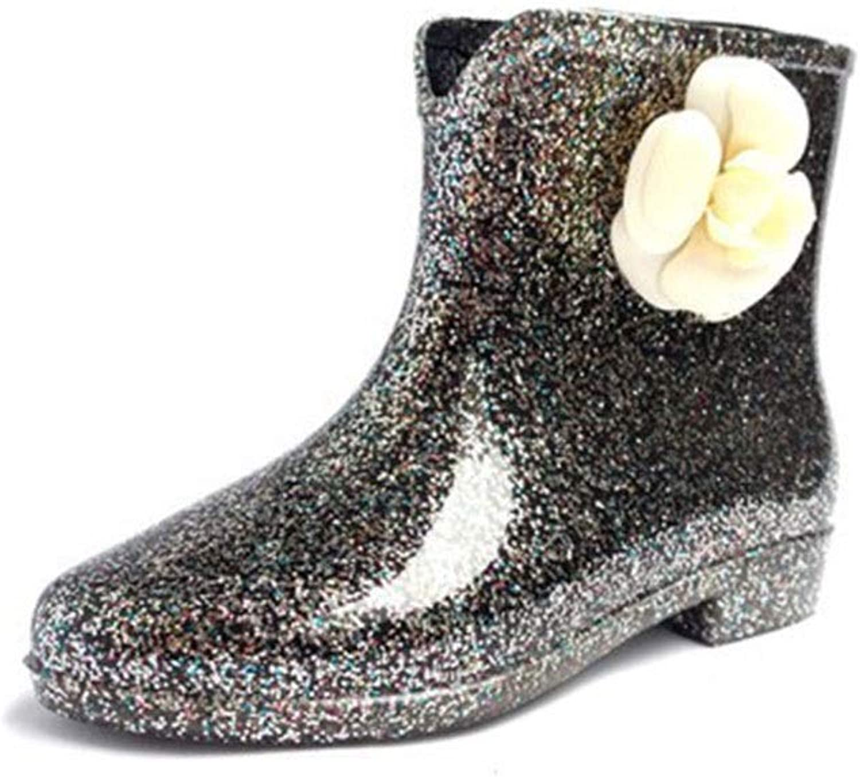 baf9b90924f4 MEIGUIshop Rain Boots - Non-Slip wear-Resistant Waterproof Flower ...