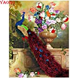 PYuKK 5D-DIY-Diamante Pintura Animal Flor Pavo Real decoración Diamante Bordado Mosaico Punto de Cruz Kit Mejor Regalo Obra de Arte sin Marco -40x50cm