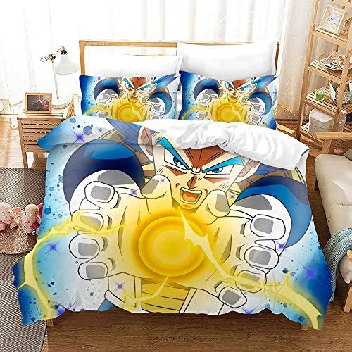 FAIEK Bedding 3 Pieces Duvets Covers Pillowcase Dragon Ball Aura Microfiber Bedding Comfortable Breathable Duvet Cover Set Fashion Home Bed Linings 180x200cm