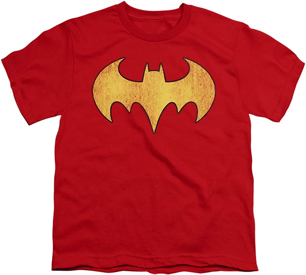 DC Batgirl Logo Distressed Unisex Youth T Shirt, Red, X-Large
