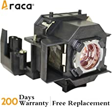ELPLP34 Projector Lamp with Housing for Epson EMP-X3 EMP-82 PowerLite 76C 82C EMP-62 EMP-62C EMP-63 EMP-76C 62C Projector Replacement Lamp by Araca