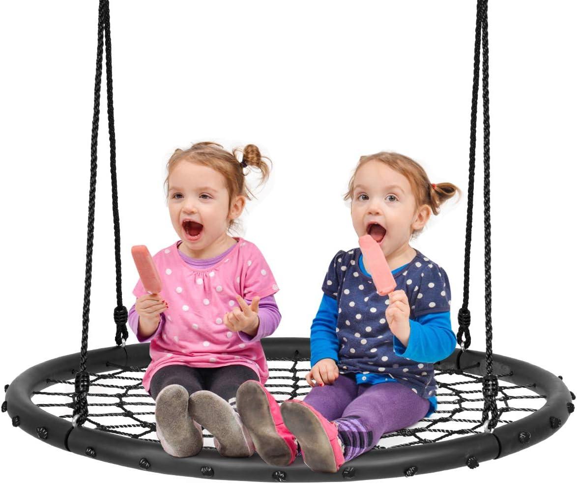Costzon 40'' Spider Web Tree Swing Set, Kids Outdoor Round Net S