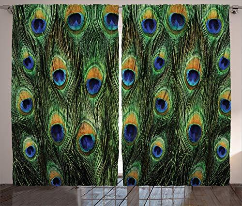 ABAKUHAUS Pfau Rustikaler Vorhang, Exotische Tierfedern, Wohnzimmer Universalband Gardinen mit Schlaufen und Haken, 280 x 225 cm, Grüne Senf Navy