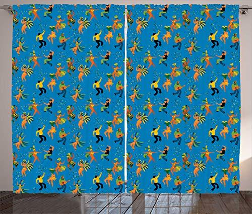 ABAKUHAUS Karneval Rustikaler Gardine, Männer und Frauen in den Kostümen, Schlafzimmer Kräuselband Vorhang mit Schlaufen und Haken, 280 x 260 cm, Mehrfarbig