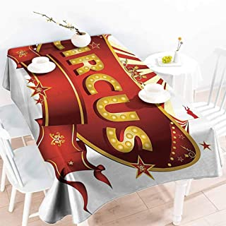GOMAE Creative Rectangle Tablecloth Circus Decor A Circus Sign Baroque Style Big Top Enjoyment Marquee Nightlife Retro Buffet,Parties,Holiday Dinner,Picnic 70x94