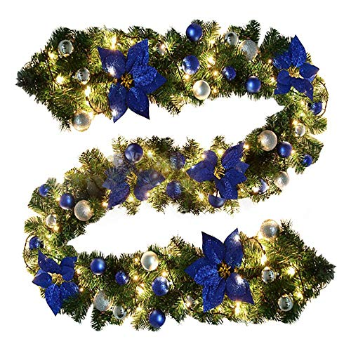 9ft Pre-lit Christmas Wreath with Stair Lights, Christmas Wreath Decoration with Flower Ball for Christmas Tree Fireplaces Stairs Doors Christmas Tree Garden Decoration with 3 AA Batteries (not incl