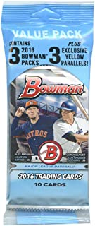 2016 Bowman Baseball Value Pack w/ 33 Cards. 3 Packs Of 10 Cards Each PLUS 3 Exclusive Yellow Parallels.