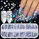 Holographic Nail Art Glitter Sequins Nail Art Supplies Flakes 12 Grids Laser Silver Nail Decals 3D Butterfly Nail Glitters Star Heart Unicorn Nail Art Sticker Confetti for Acrylic Nails Decorations