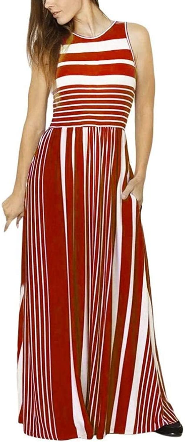Womens Casual Dress Women's Sleeveless Casual Beach Dress Summer Dress Crewneck Striped Long Maxi Dress With Pockets Dresses Wild Tight for Women (color   red, Size   S)