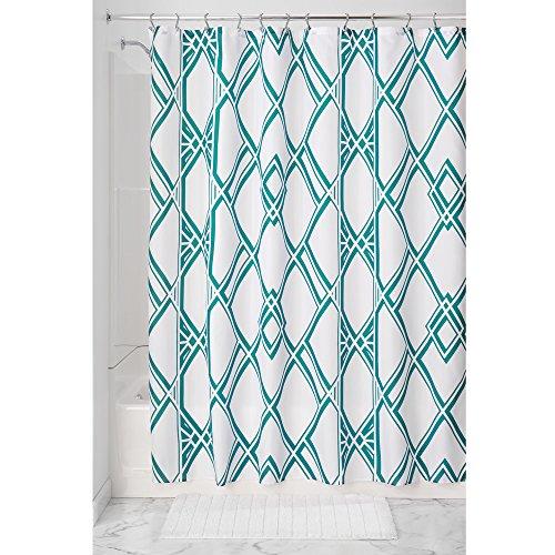 InterDesign Deco Geo rideau de douche tissu à motif, rideau douche en polyester facile entretien, rideau baignoire à œillets renforcés, vert émeraude