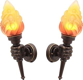 VOMI Rustykalna lampa ścienna LED, pochodnia, lampa ścienna na zewnątrz, lampa E27, efekt płomienia, klosz szklany, kreaty...