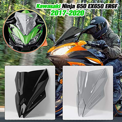 Lorababer Motorrad Double Bubble Windschild Windabweiser Scheibe Windschutzscheibe Visier Deflektor Passend für Kawasaki Ninja 650 EX650 ER6F EX 650 ER-6F 2017 2018 2019 2020 Zubehör (Rauch)